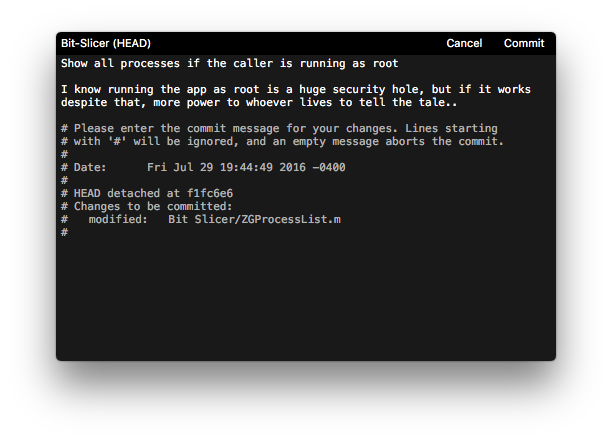 Komet, a Cocoa text editor designed for creating commit messages.